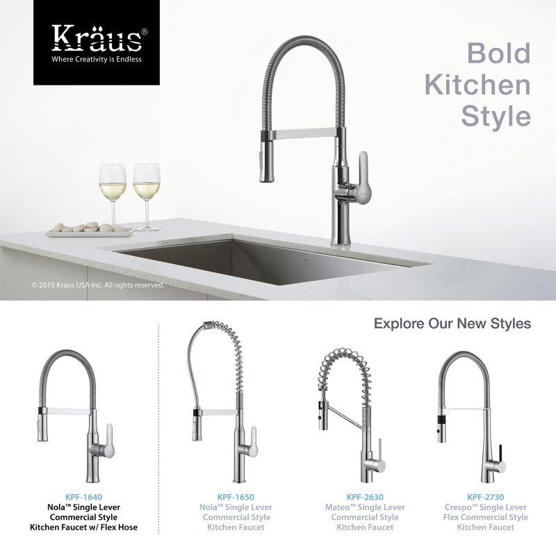 Kraus KPF 1640CH Chrome Nola Single Lever Flex Commercial Style Kitchen  Faucet   FaucetDirect.com