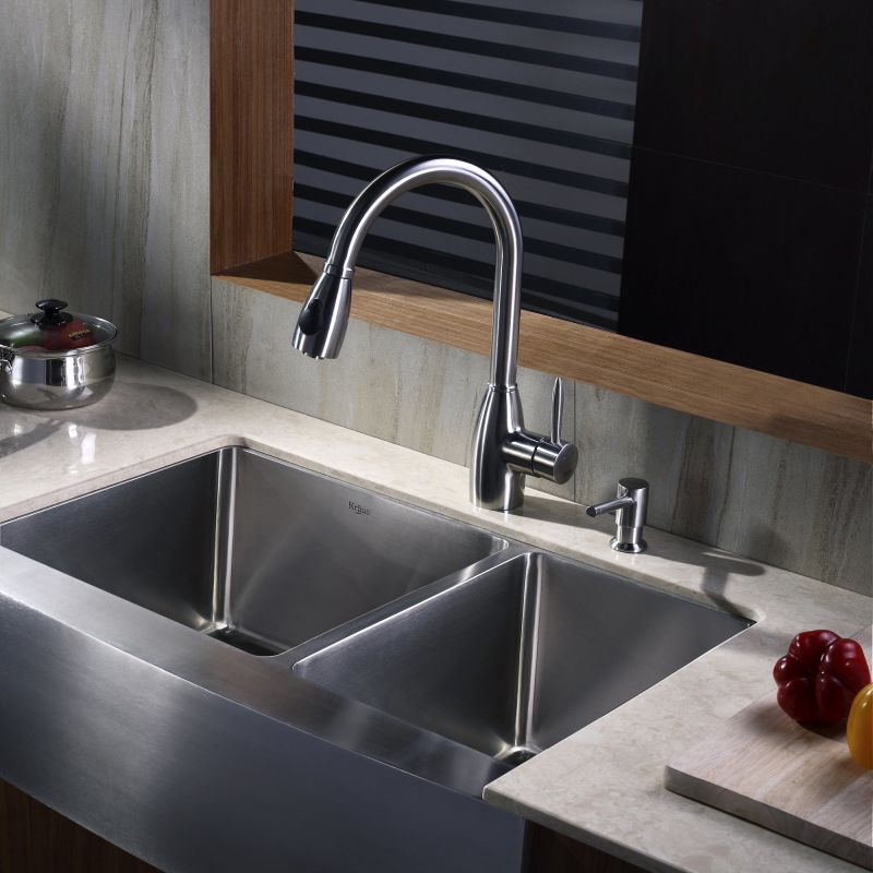 Kraus KPF 2130 SD20 Stainless Steel Stainless Steel Pullout Spray Kitchen  Faucet With Soap Dispenser   Faucet.com