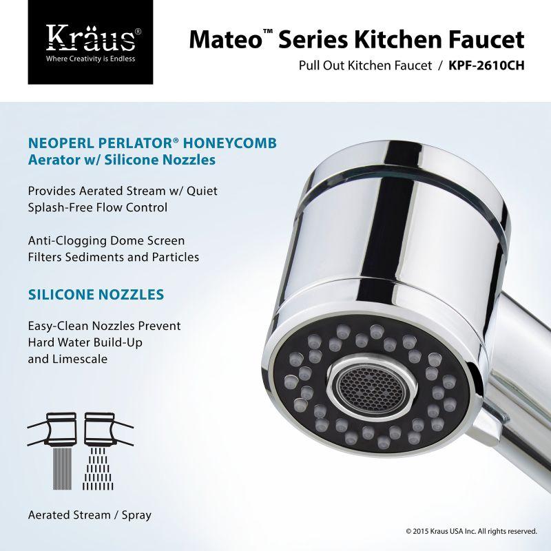 Kraus KPF 2610 2600 41CH Chrome Oletto Pull Out Kitchen Faucet With  Bar/Prep Faucet U0026 Soap Dispenser   Faucet.com