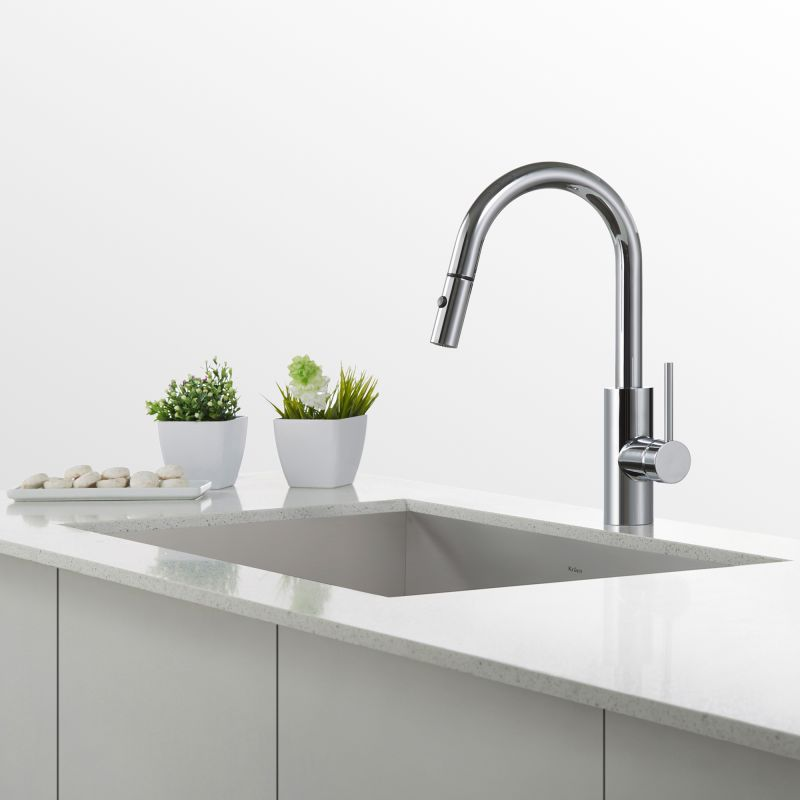 Kraus KPF 2620CH Chrome Oletto Pull Down Kitchen Faucet With QuickDock  Technology, Swiveling Spout And Dual Function Spray Head   Faucet.com
