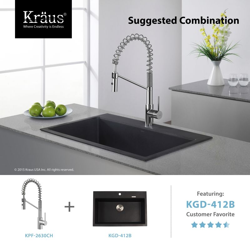 Kraus KPF 2630SS Stainless Steel Oletto Commercial Style Pre Rinse Kitchen  Faucet With QuickDock Technology, Swiveling Spout And Dual Function Spray  Head ...