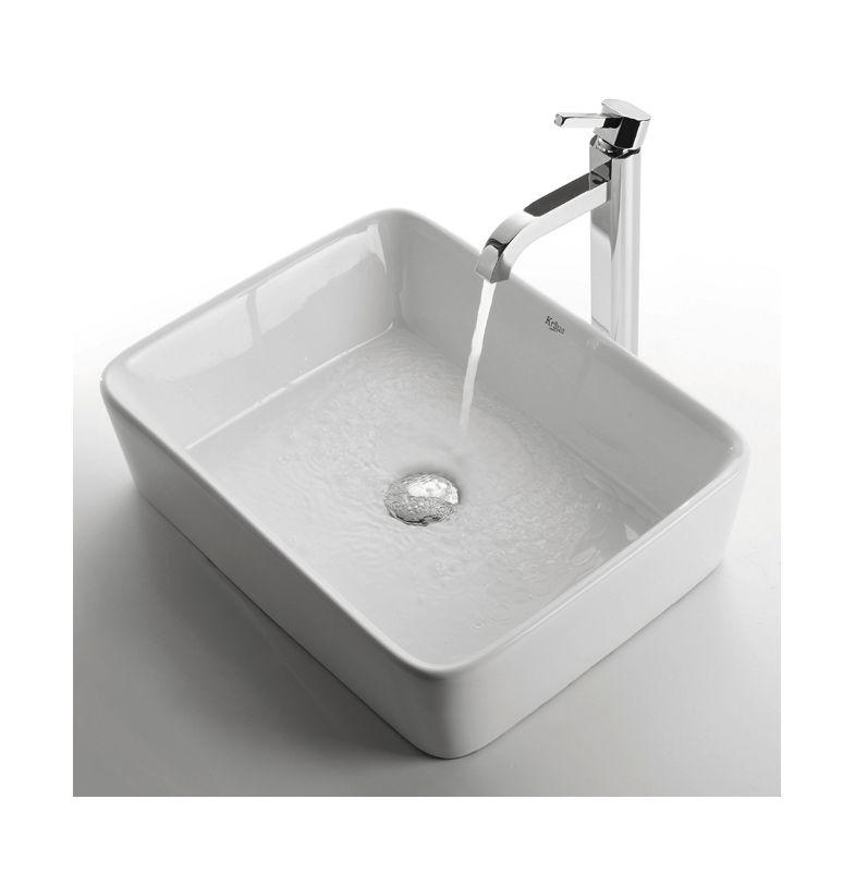 Kraus C Kcv 121 1007ch Chrome Bathroom Combo 18 3 4 Ceramic Vessel Sink With Faucet Pop Up Drain