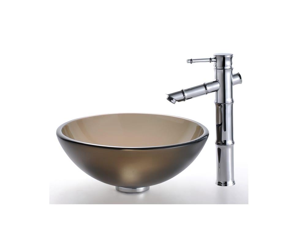 Kraus KBF-1300AB Antique Brass Bamboo Single Hole Vessel Bathroom ...