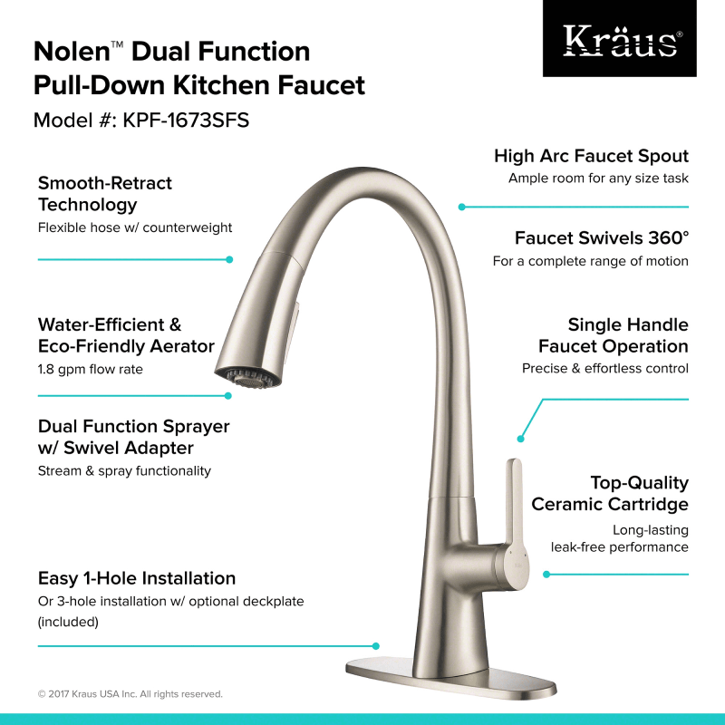 Kraus KPF-1673SFS Spot-Free Stainless Steel Nolen™ Single Handle ...