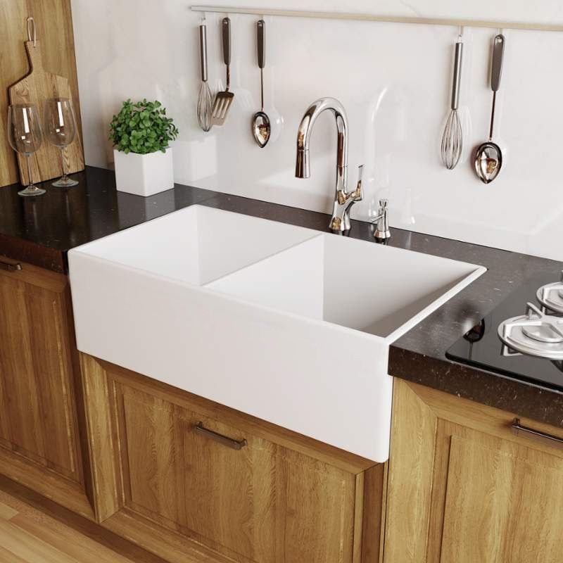 Miseno mno3320afc white inferno 33 double basin reversible miseno mno3320afc white inferno 33 double basin reversible farmhouse fireclay kitchen sink with 6040 split faucetdirect workwithnaturefo