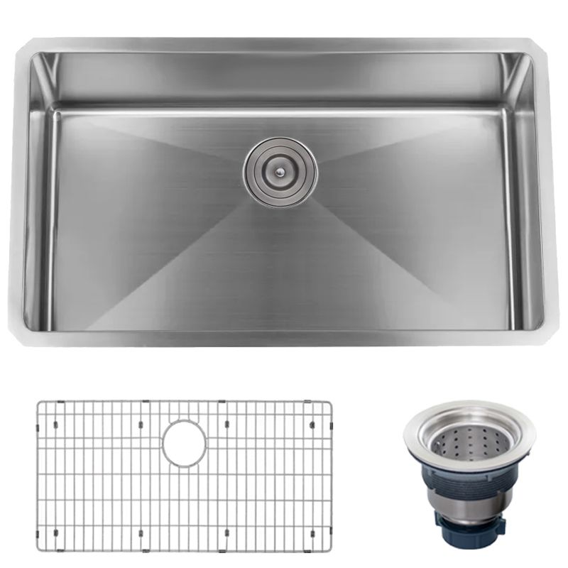 Miseno mno163018sr 16 gauge stainless steel 30 undermount single miseno mno163018sr 16 gauge stainless steel 30 undermount single basin kitchen sink drain assembly and fitted basin rack included free faucet workwithnaturefo