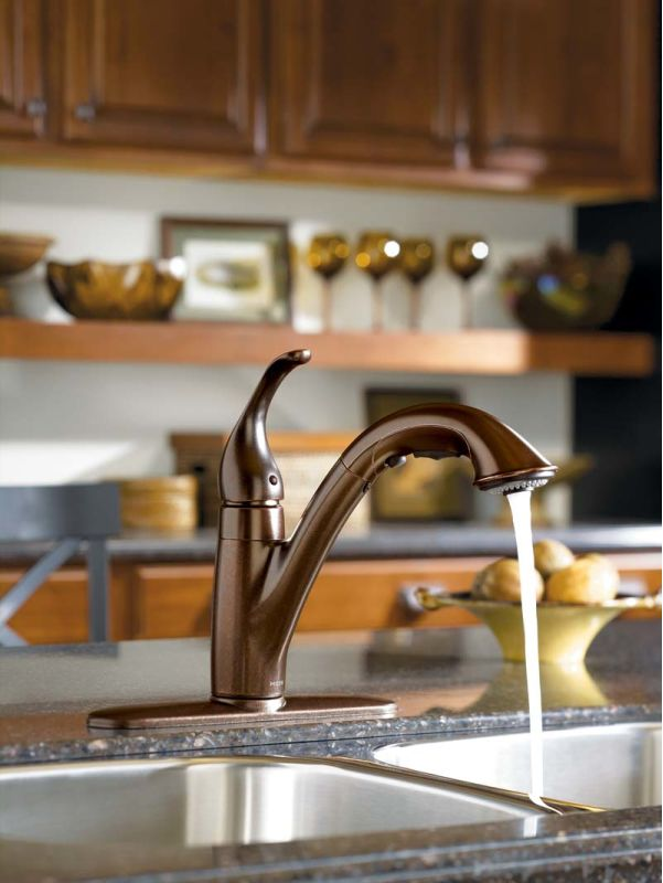 Moen 7545C Chrome Single Handle Kitchen Faucet With Pullout Spray From The  Camerist Collection   Faucet.com