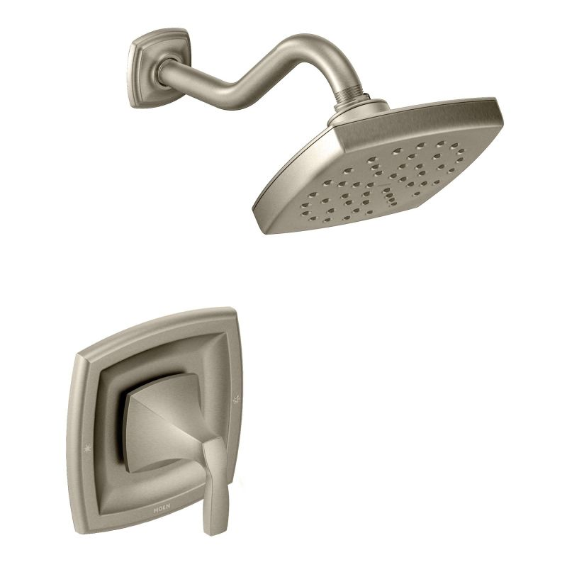 moen 435bn brushed nickel pressure balanced shower system with rain shower integrated volume control diverter and hand shower from the voss collection