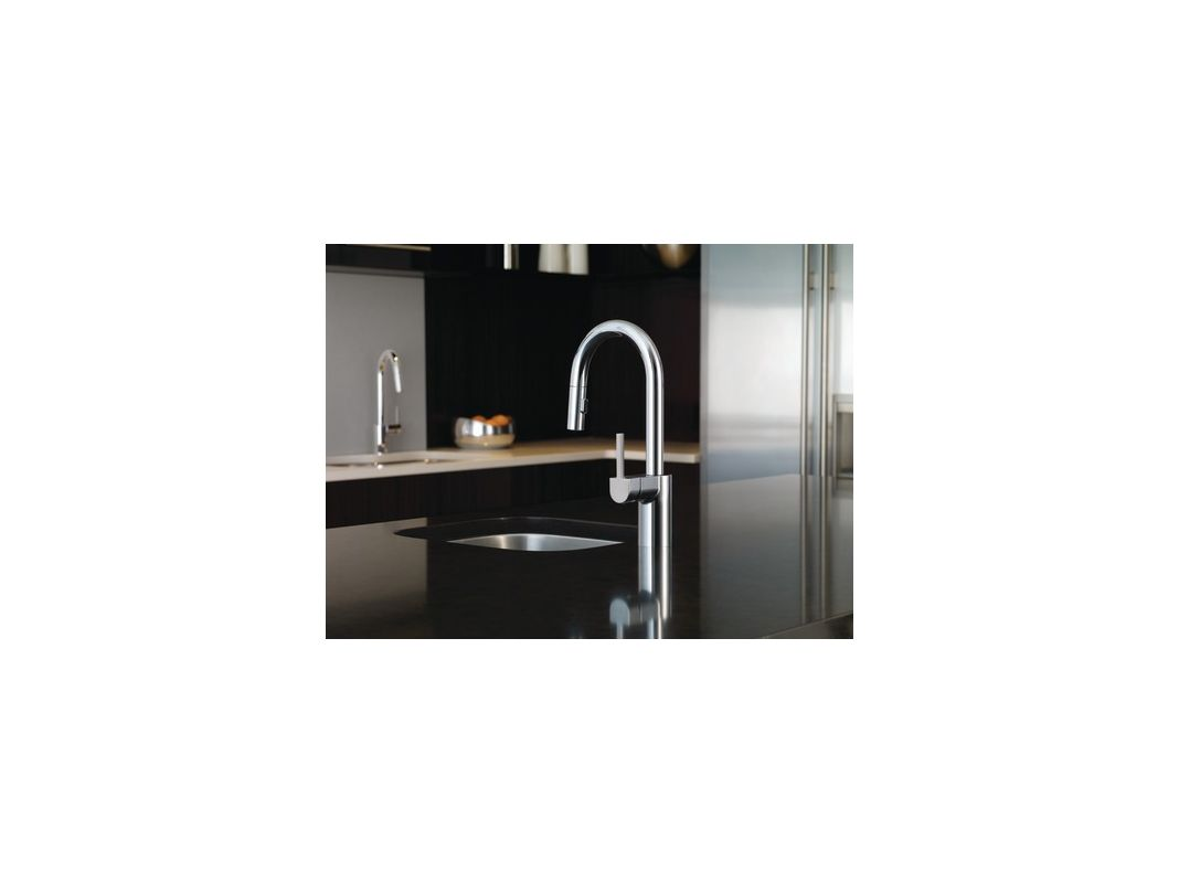 Moen 5965BL Matte Black Single Handle Pullout Spray Bar Faucet with ...