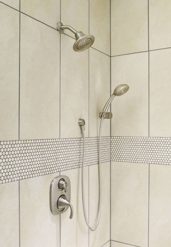 brushed nickel shower system. Moen 600 Chrome Pressure Balanced Shower System With Diverter, Integrated Volume Control, Slide Bar, And Hand From The Icon Collection (Valves Brushed Nickel S