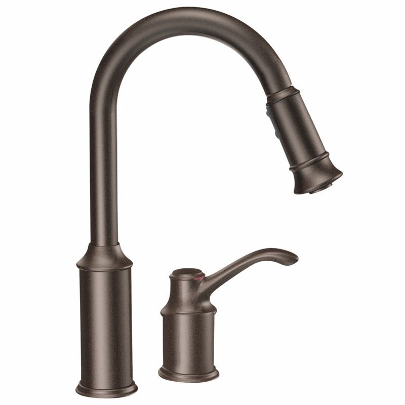 Moen 7590ORB Oil Rubbed Bronze Single Handle Pulldown Spray Kitchen Faucet  With Reflex Technology From The Aberdeen Collection   Faucet.com