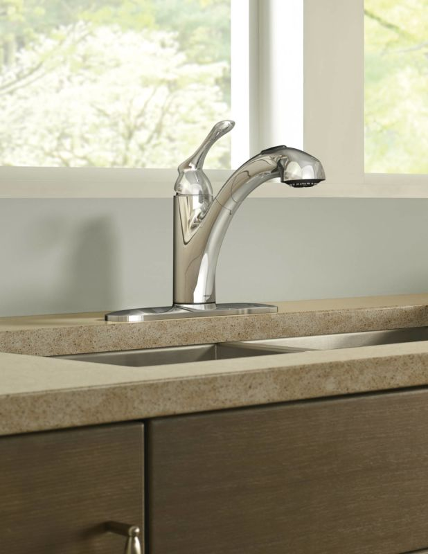Moen 87017 Chrome Pullout Spray Kitchen Faucet from the Banbury ...