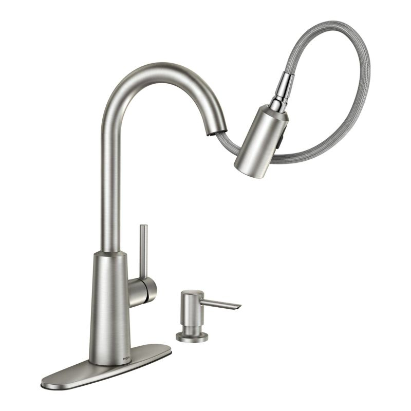 Moen 87066SRS Spot Resist Stainless Pullout Spray High Arc Kitchen Faucet  With Soap Dispenser And Reflex Technology From The Nori Collection   Faucet .com