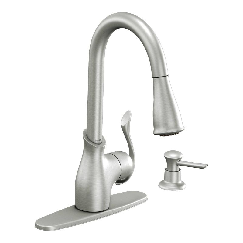 Moen CA87006CSL Classic Stainless Kitchen Faucet With Pullout Spray And Soap  Dispenser From The Boutique Collection   Faucet.com