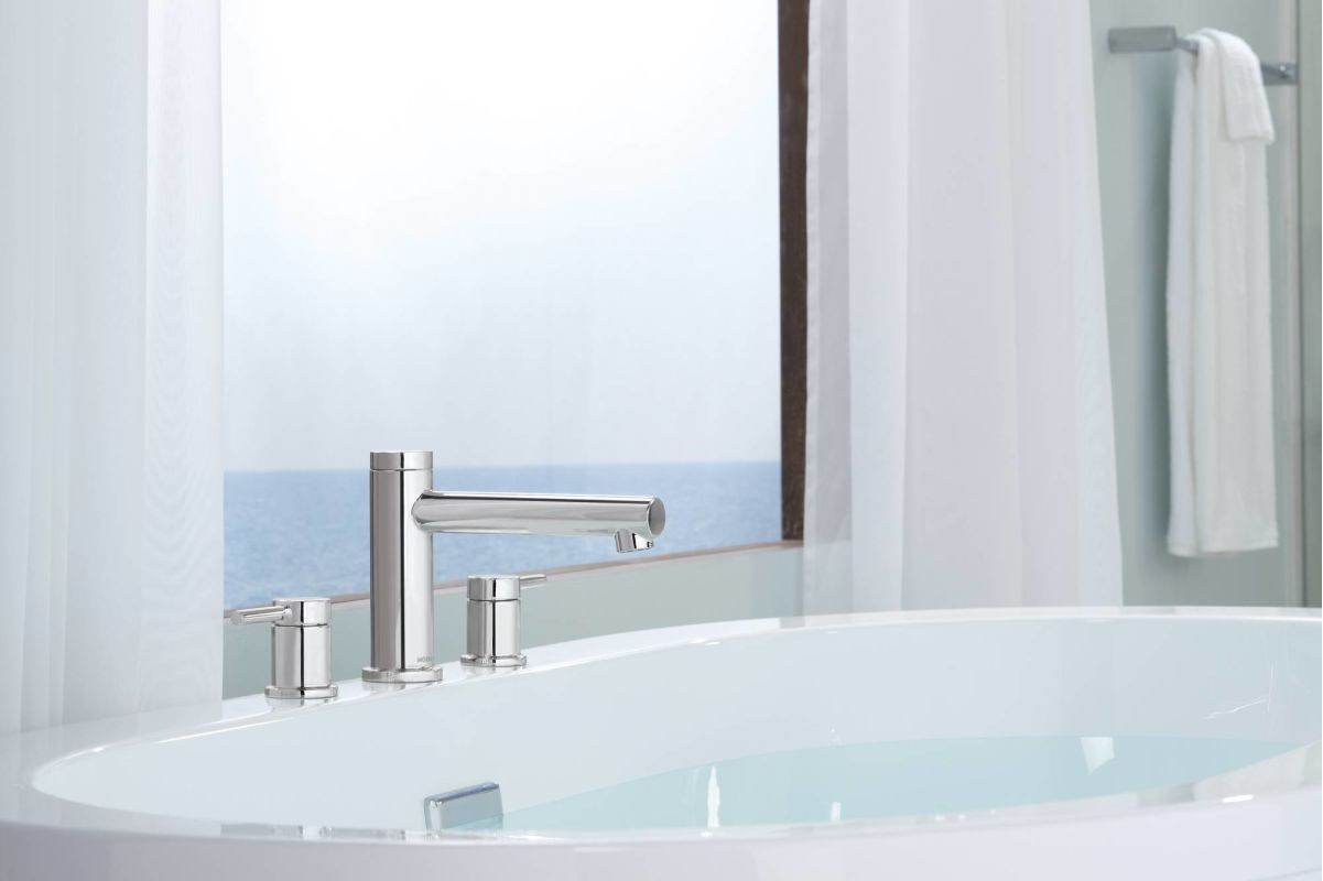 Moen T393BN Brushed Nickel Deck Mounted Roman Tub Faucet Trim From The  Align Collection (Less Valve)   Faucet.com