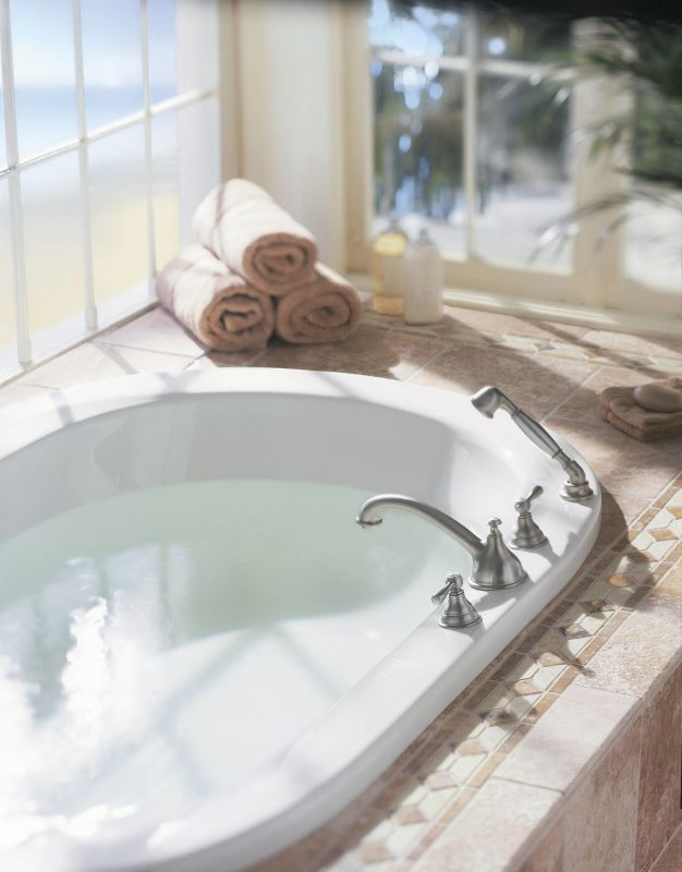 Moen T912BN Brushed Nickel Deck Mounted Roman Tub Faucet Trim with ...