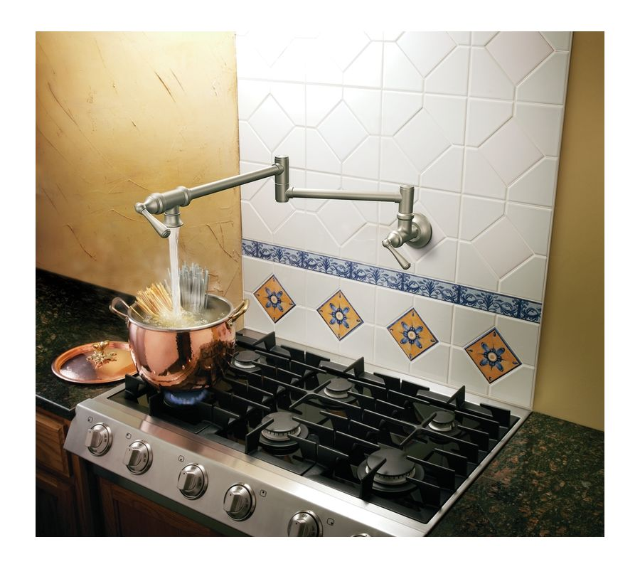 Moen S10SRS Spot Resist Stainless Double Handle Wall Mount Kitchen ...