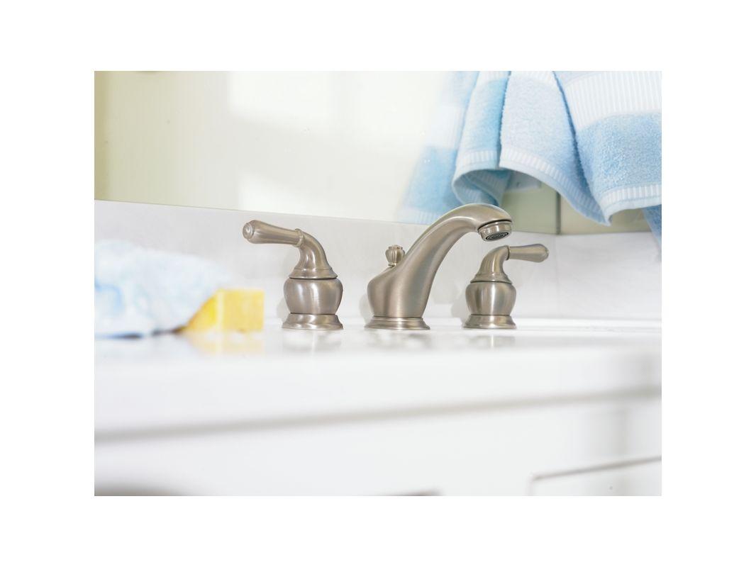 Moen T4570BN Brushed Nickel Double Handle Widespread Bathroom Faucet ...