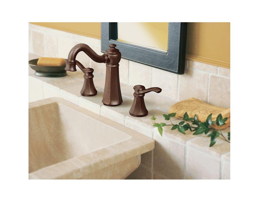 Moen T6305BN Brushed Nickel Double Handle Widespread Bathroom Faucet ...