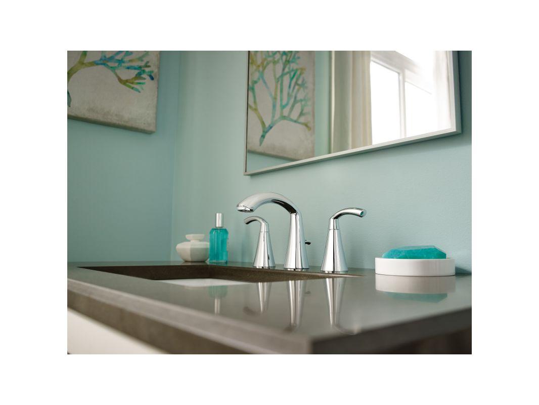 Moen T6173 Chrome Glyde Widespread Bathroom Faucet - Pop-Up Drain ...