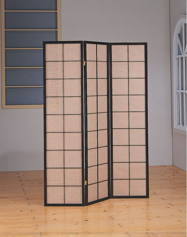 monarch specialties i cappuccino 3 panel folding screen room divider with fabric inlay