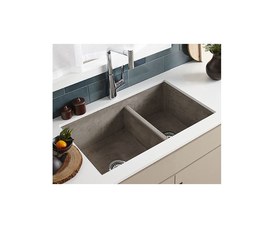 native trails nskd3321 a ash farmhouse 33 double basin nativestone kitchen sink for undermount or farmhouse installations with 6040 split and apron front - Farmhouse Kitchen Sink