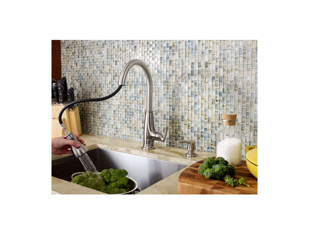 Pfister F-529-7AYS Stainless Steel Ainsley Pullout Spray Kitchen Faucet  with Soap Dispenser - Faucet.com