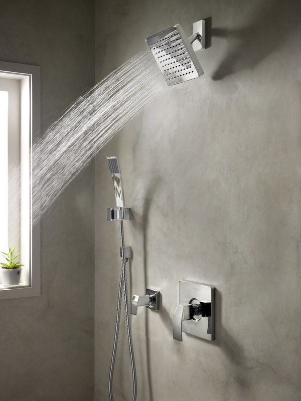 Pfister B89-7DFC Polished Chrome Kenzo Shower System with Valve Trim ...