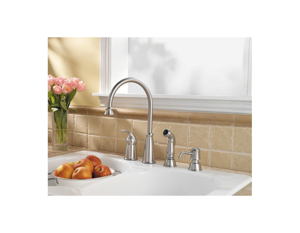 Pfister GT26-4CBS Stainless Steel Avalon High Arc Kitchen Faucet ...