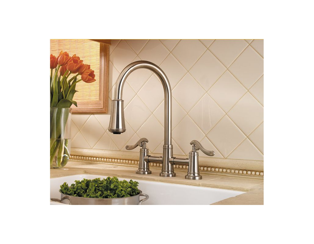 Pfister Lg531 Ypk Brushed Nickel Ashfield 2 Handle Pull Down Kitchen Faucet With Accudock Sprayhead Flex Line Supply Lines And Pfast Connect Technologies