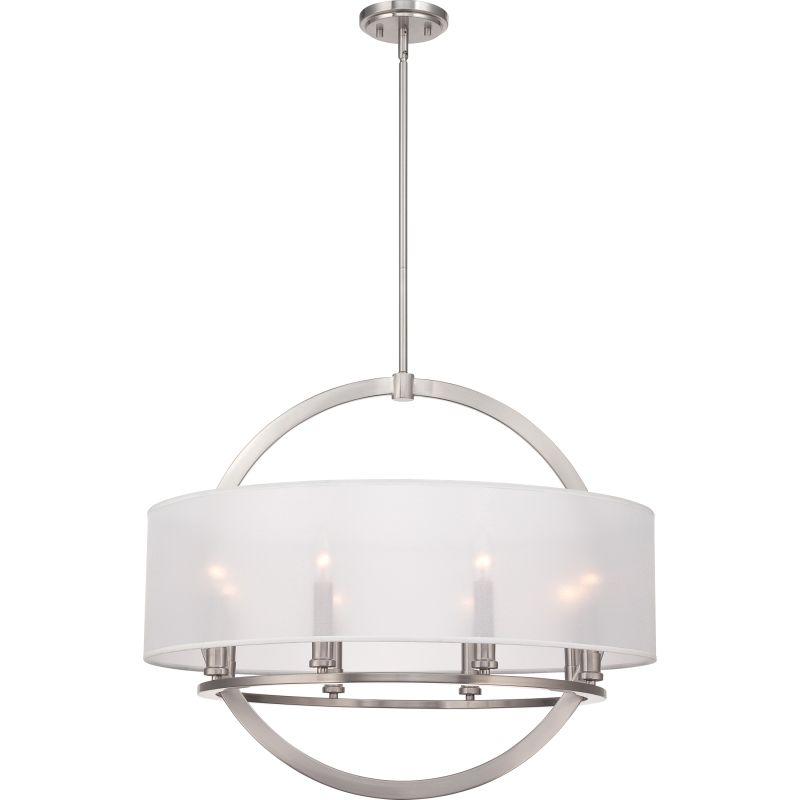 Quoizel ptd2826bn brushed nickel portland 8 light 28 wide drum quoizel ptd2826bn brushed nickel portland 8 light 28 wide drum chandelier with organza fabric shade lightingdirect aloadofball Image collections