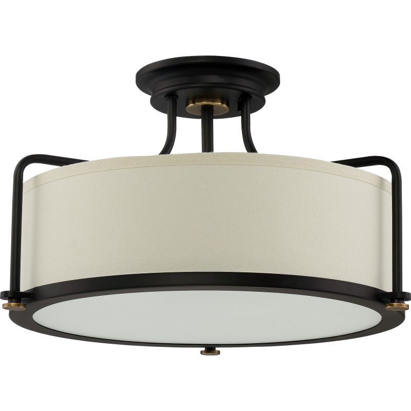 Quoizel qf1715wt western bronze signature 3 light 18 wide semi quoizel qf1715wt western bronze signature 3 light 18 wide semi flush ceiling fixture with fabric drum shade lightingdirect aloadofball Gallery