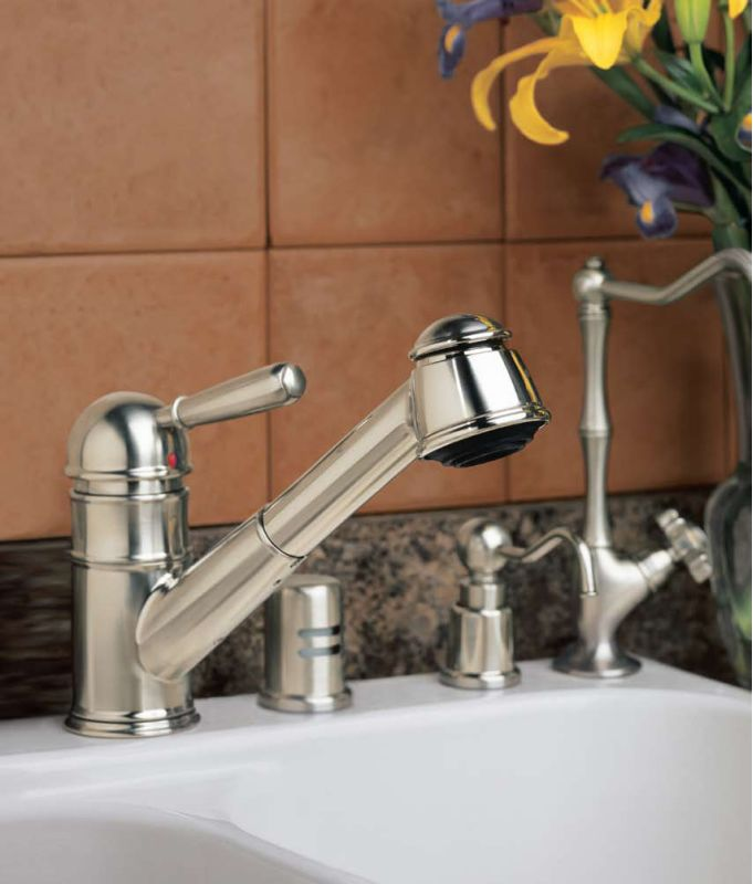 Rohl R77V3PN Polished Nickel Country Kitchen Faucet with Pull Out ...