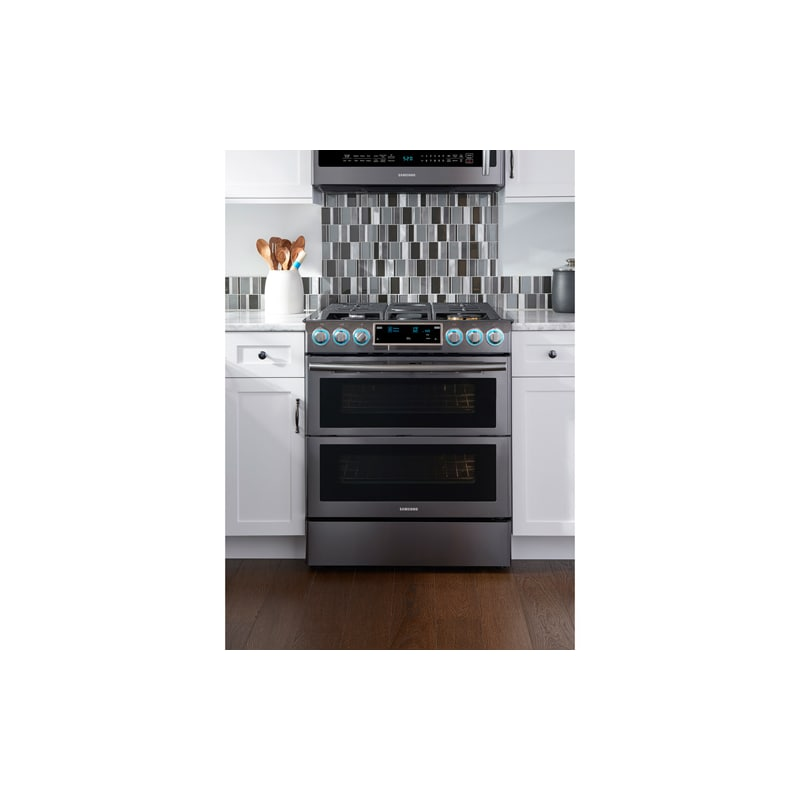 samsung nx58k9850sg black stainless steel 30 inch wide 58 cu ft slidein gas range with dual doors