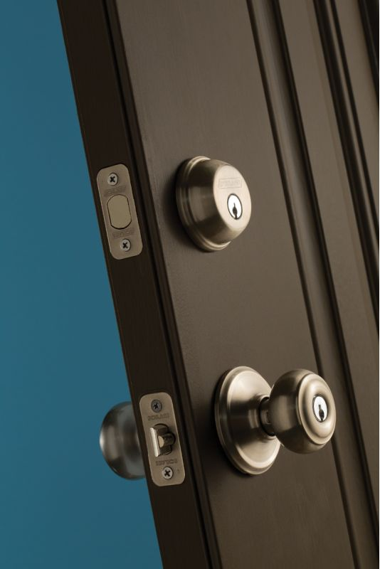 Schlage A40GEO609 Antique Brass Georgian Privacy Door Knob Set    Handlesets.com