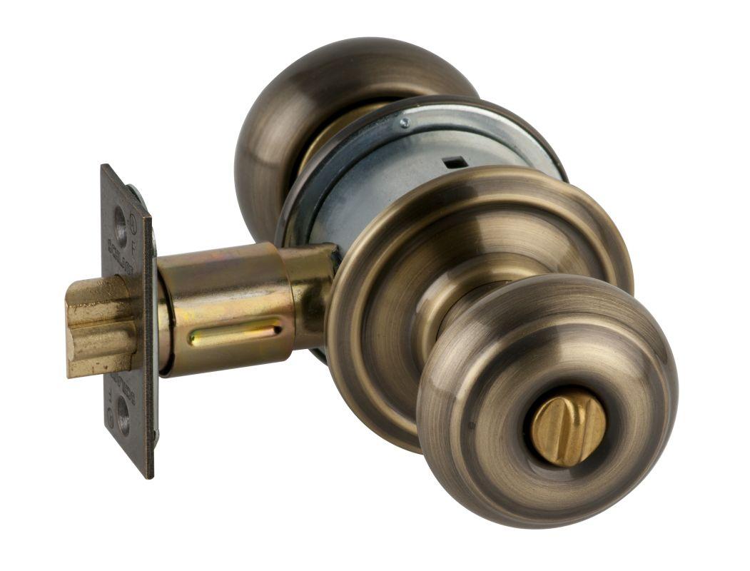 Schlage A53GEO609 Antique Brass Georgian Keyed Entrance Door Knob Set    Handlesets.com