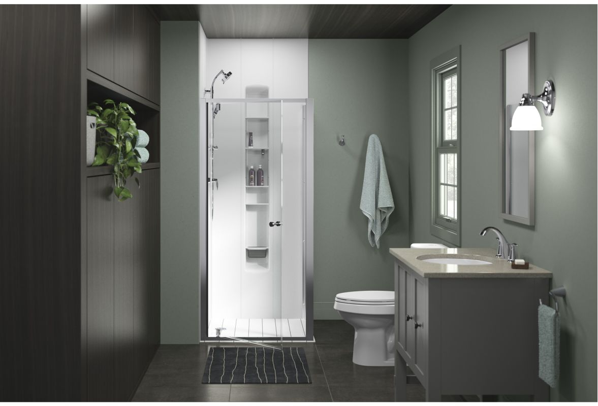 "Sterling 572084-36S-G05 Silver Whiston 36"" x 36"" Corner Pivot Shower Door with CleanCoat - Faucet.com"