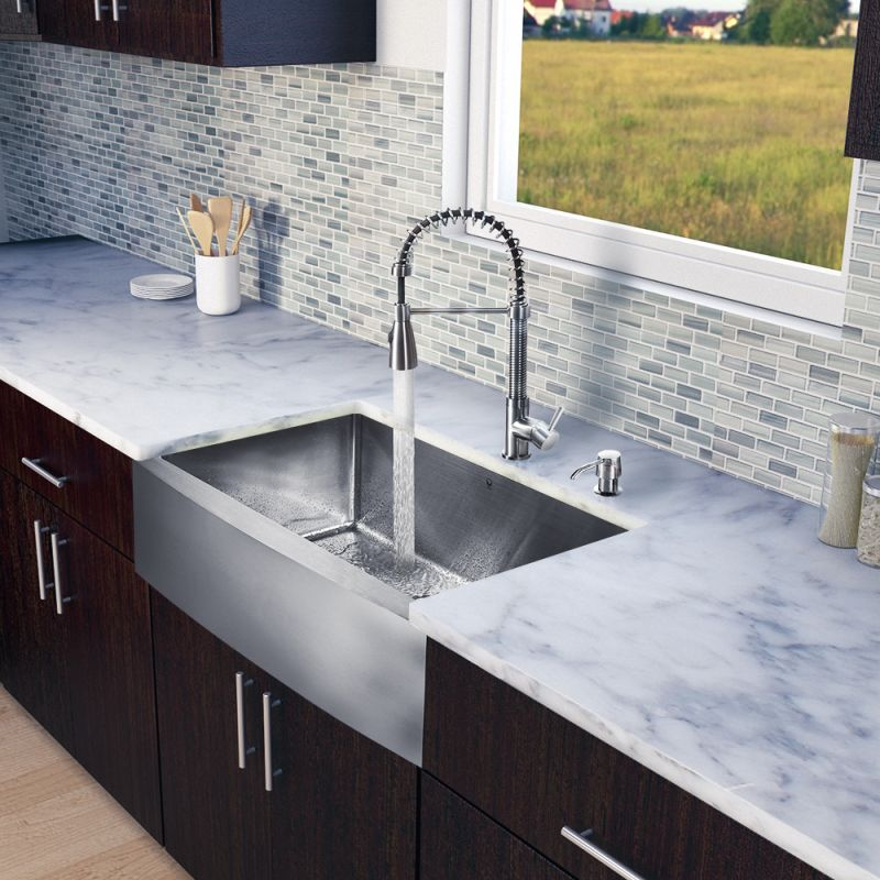 Vigo Vg15203 Stainless Steel 33 Single Basin Farmhouse A Front Kitchen Sink With Brant Finish Faucet And Soap Dispenser