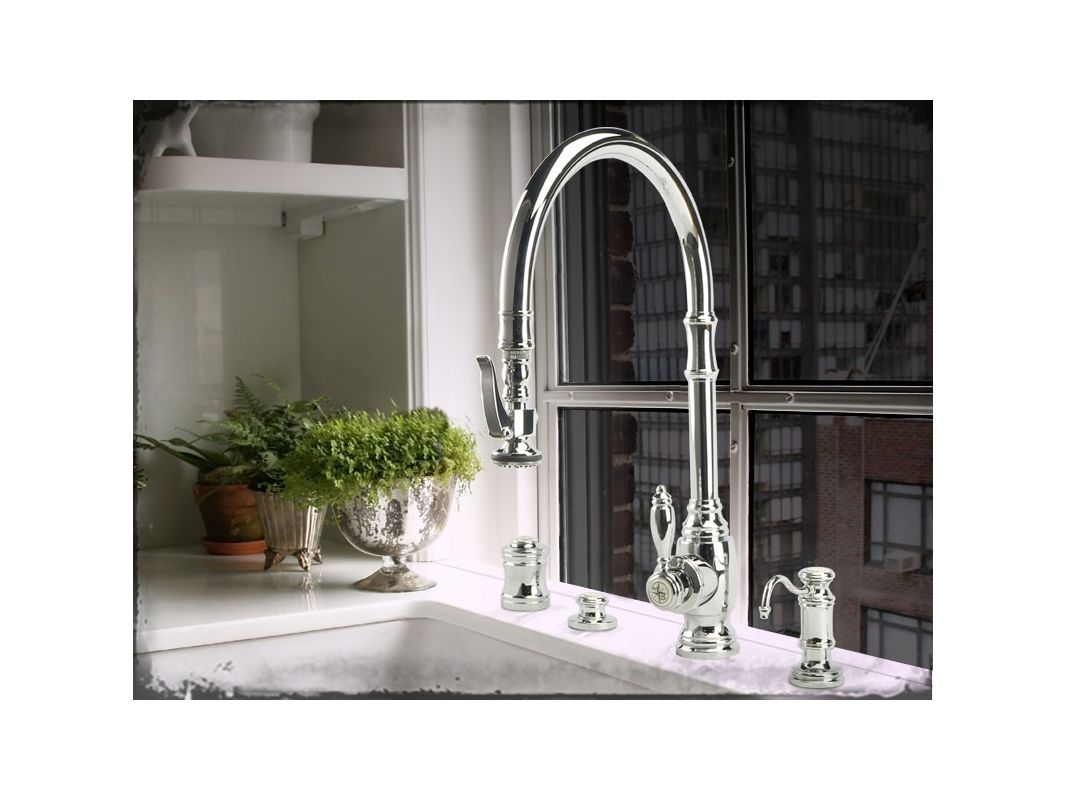 Waterstone 5500-4-SN Satin Nickel Annapolis Kitchen Faucet Single ...