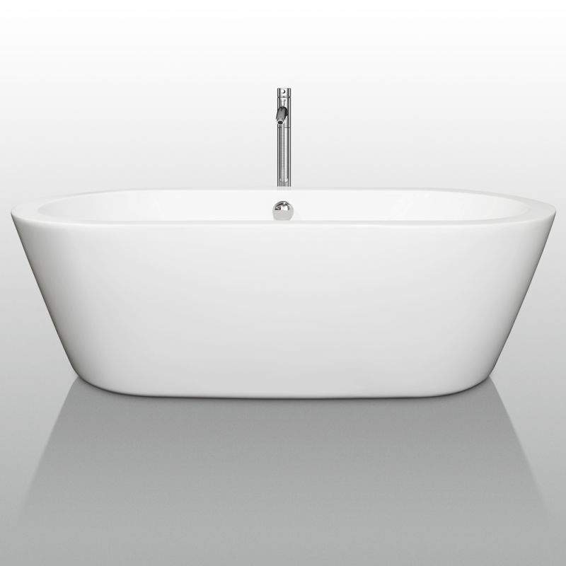 Wyndham Collection WCOBT100371BNTRIM White Brushed Nickel Trim Mermaid 71 Free Standing Acrylic Soaking Tub With Center Drain Pop Up Assembly
