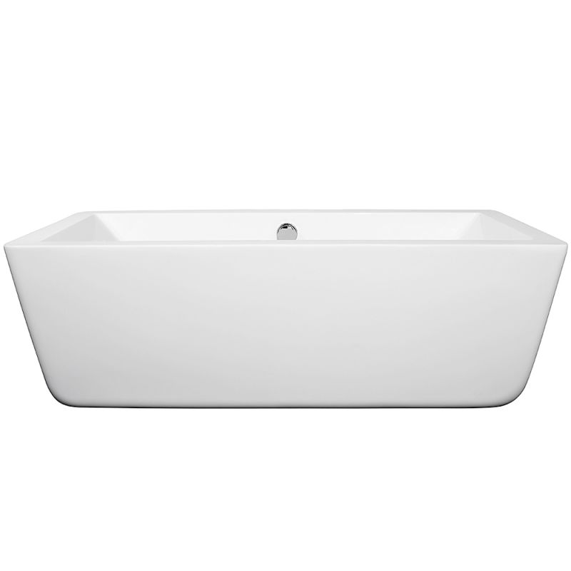 Wyndham Collection Wcobt100567bntrim White Brushed Nickel Trim Laura 67 Free Standing Acrylic Soaking Tub With Rear Drain Pop Up Embly