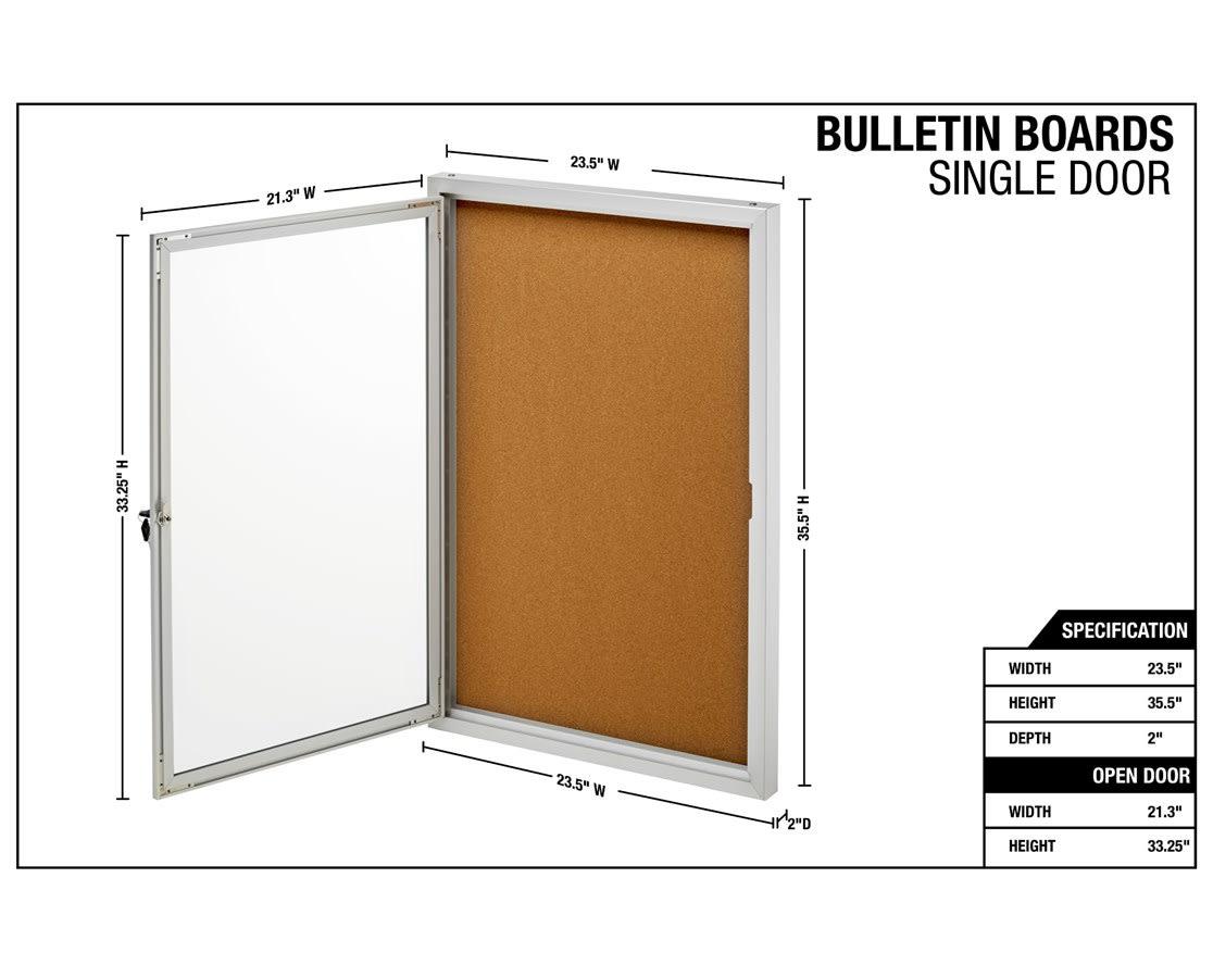 Black and Grey AdirOffice Single Door Glass Enclosed Bulletin Boards