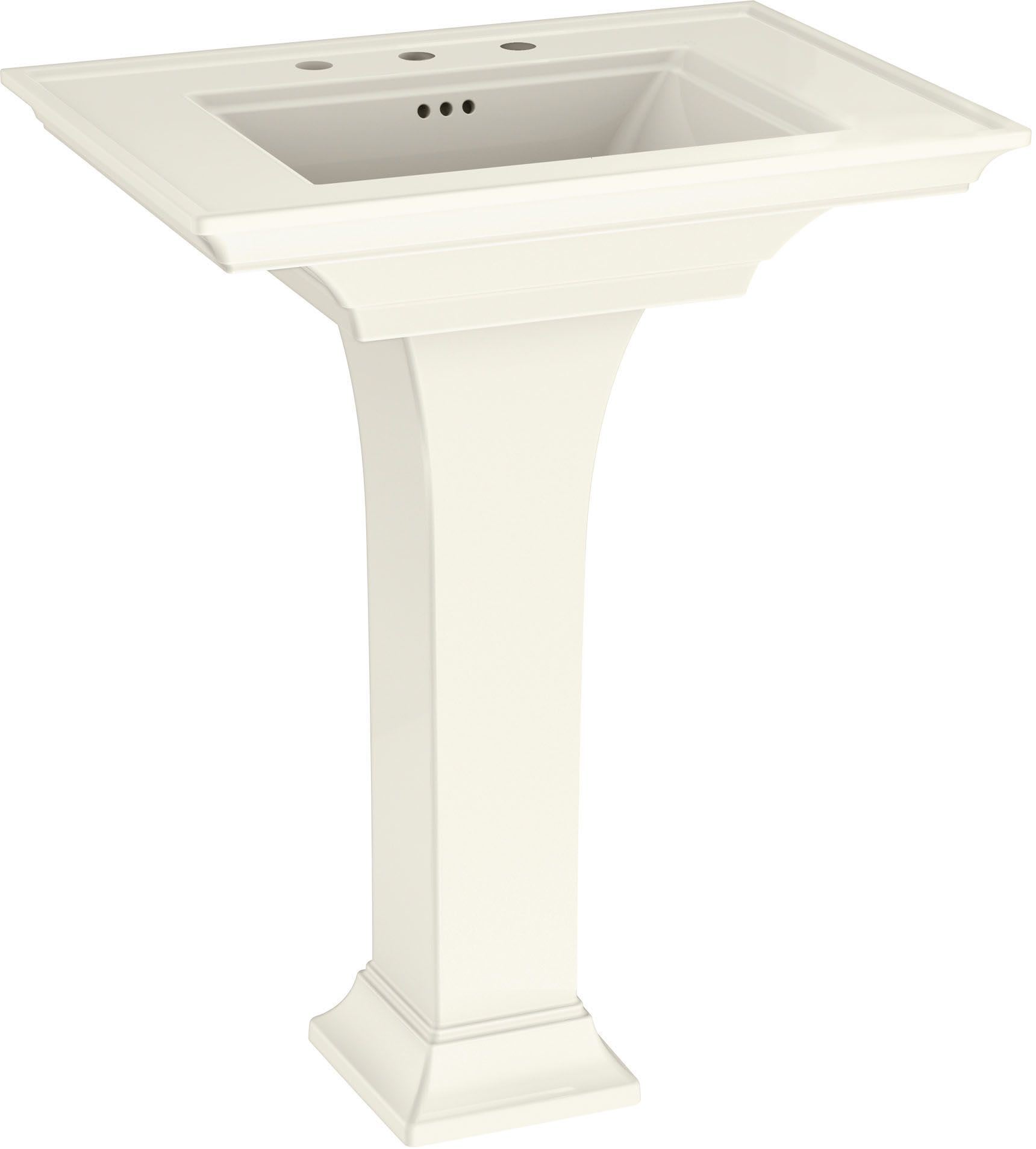 American Standard 0297800 222 Linen Town Square S 30 Rectangular Fireclay Pedestal Bathroom Sink With Overflow And 3 Faucets Holes At 8 Centers Faucet Com