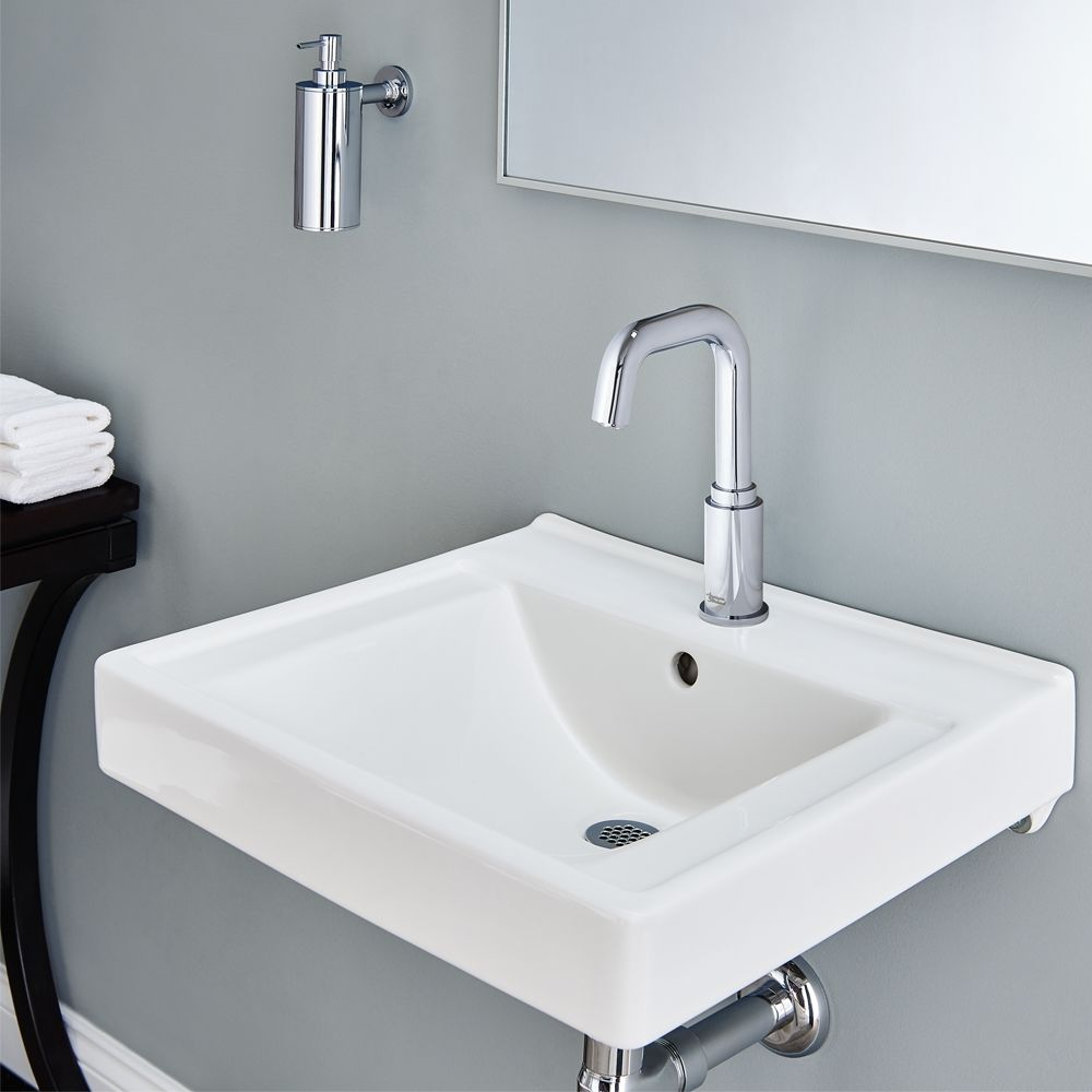 Standard bathroom sink - American Standard 9024001ec 020 White Decorum 20 Wall Mounted Bathroom Sink With Everclean Surface And Rear Overflow Faucet Com