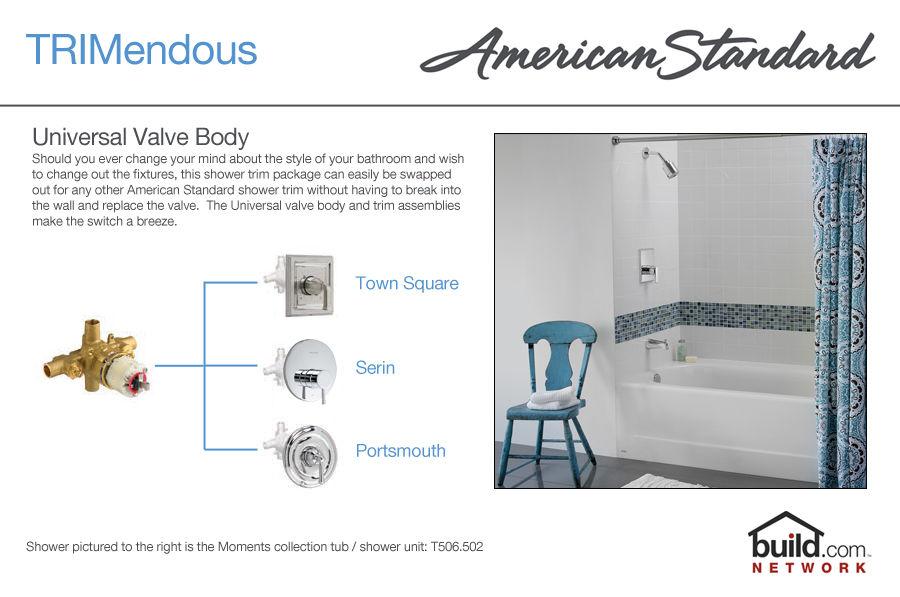 American Standard T000.502.002 Chrome Ceramix Tub and Shower Trim ...