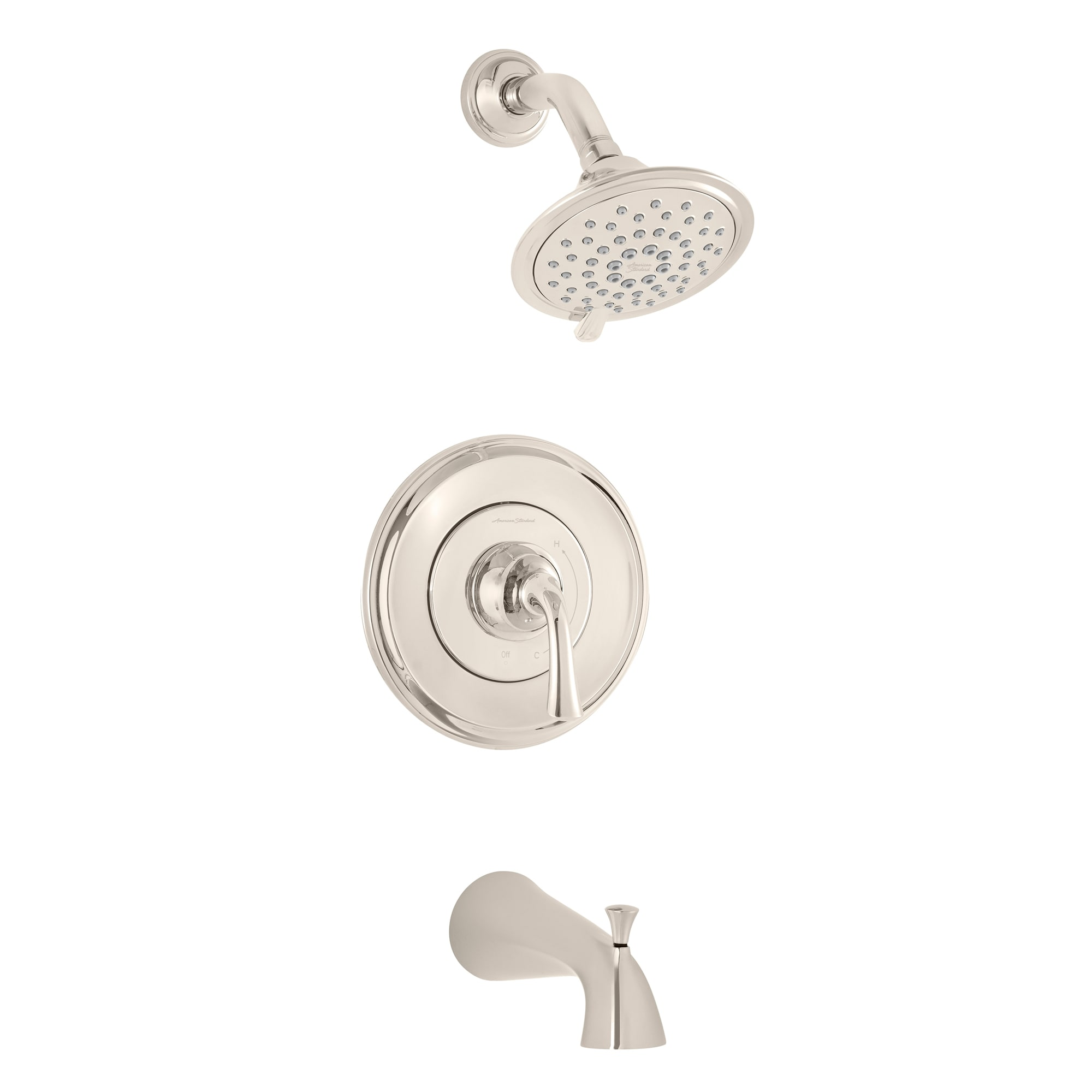 American Standard Tu106502 013 Polished Nickel Pvd Patience Tub And Shower Trim Package With 2 5 Gpm Multi Function Shower Head Faucet Com