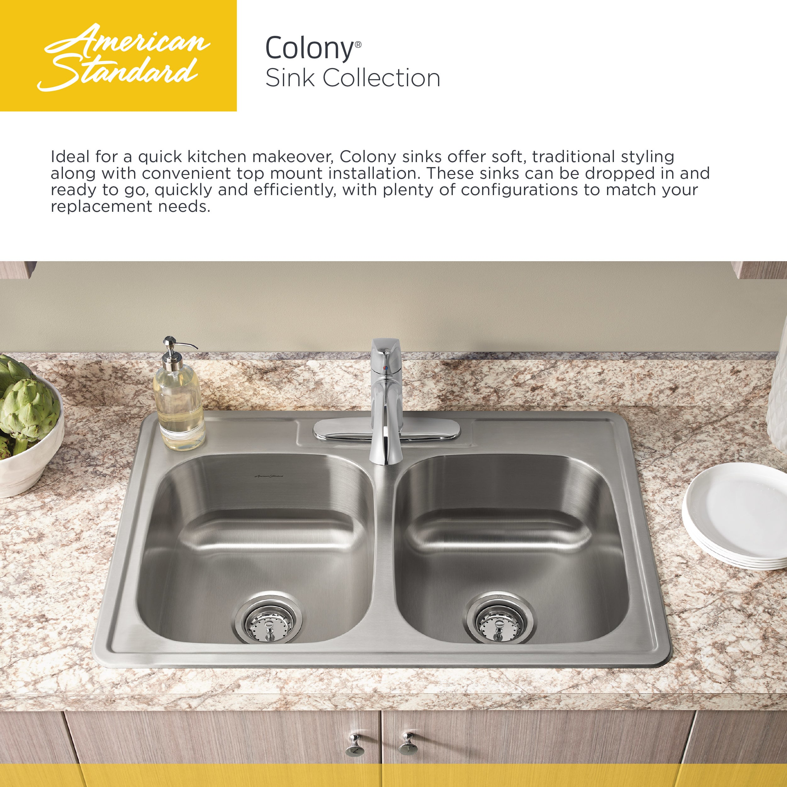 american standard 22sb6252283s075 stainless steel colony 25 single basin stainless steel kitchen sink for drop in installations with three faucet holes - Kitchen Sink Drain Configurations