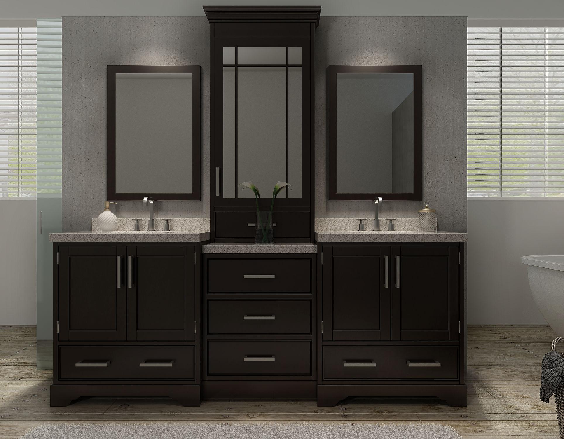 bathroom cabinets double sink. Ariel M085D-ESP Espresso Stafford 84\ Bathroom Cabinets Double Sink A