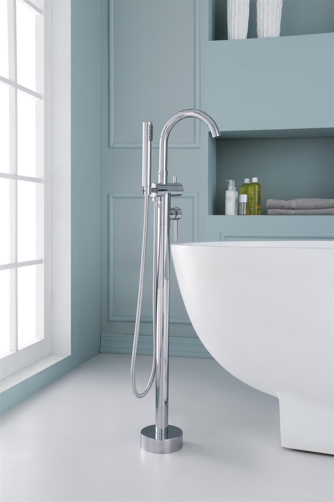 Ariel PV068M44C1 Chrome Ariel Floor Mounted Tub Faucet with Metal ...