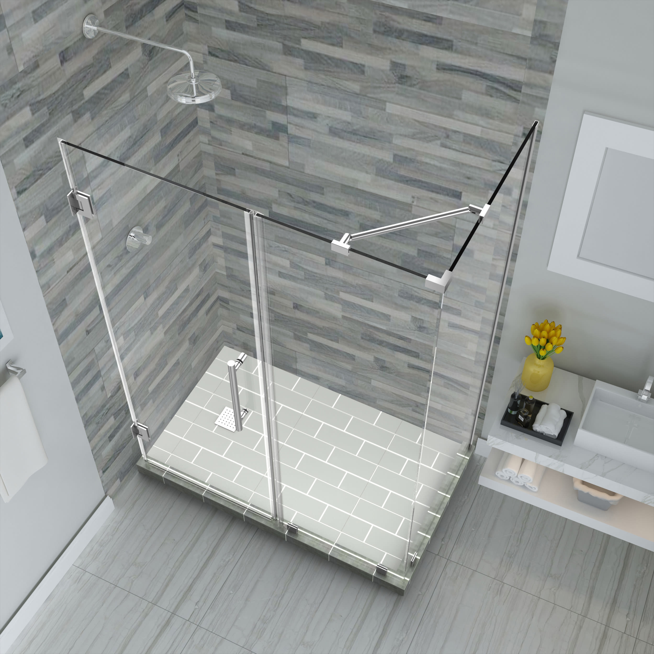 Aston Sen967ez Ch 542432 10 Chrome Bromley 72 High X 54 Wide X 32 Deep Hinged Frameless Shower Enclosure With 24 Door Width And Clear Glass Faucetdirect Com